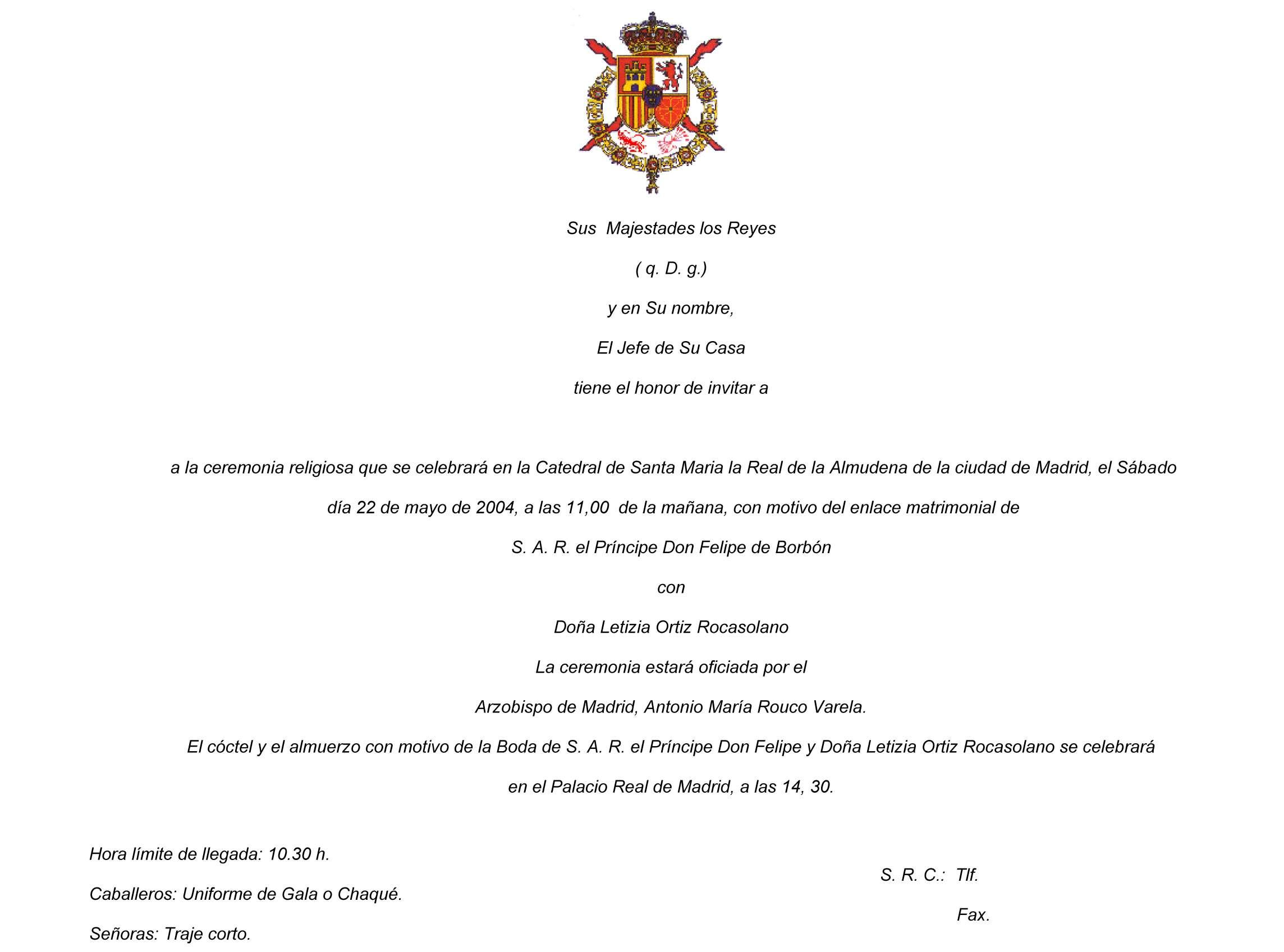 Invitación Casa Real Ceremonia Cóctel Almuerzo