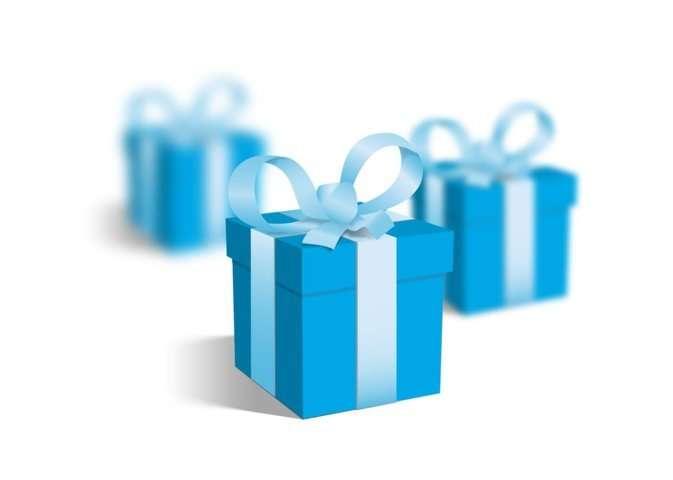 Regalos. Cajitas de regalo azules.