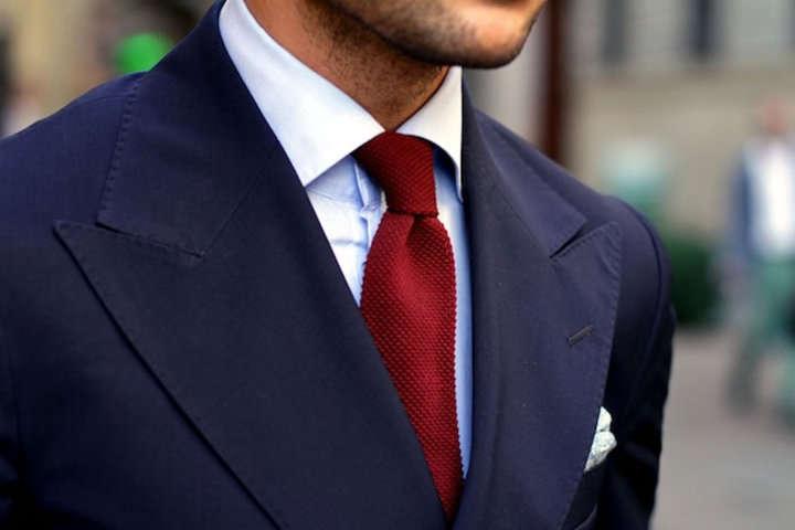 Navy Suit Pink Tie Black Shoes