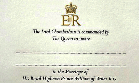 Invitaci�n de boda. Pr�ncipe William of Wales y Catherine Middleton