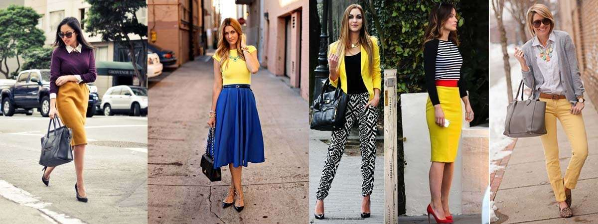 Combinaciones del color amarillo.