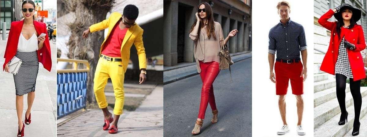 Combinar una prenda de color rojo