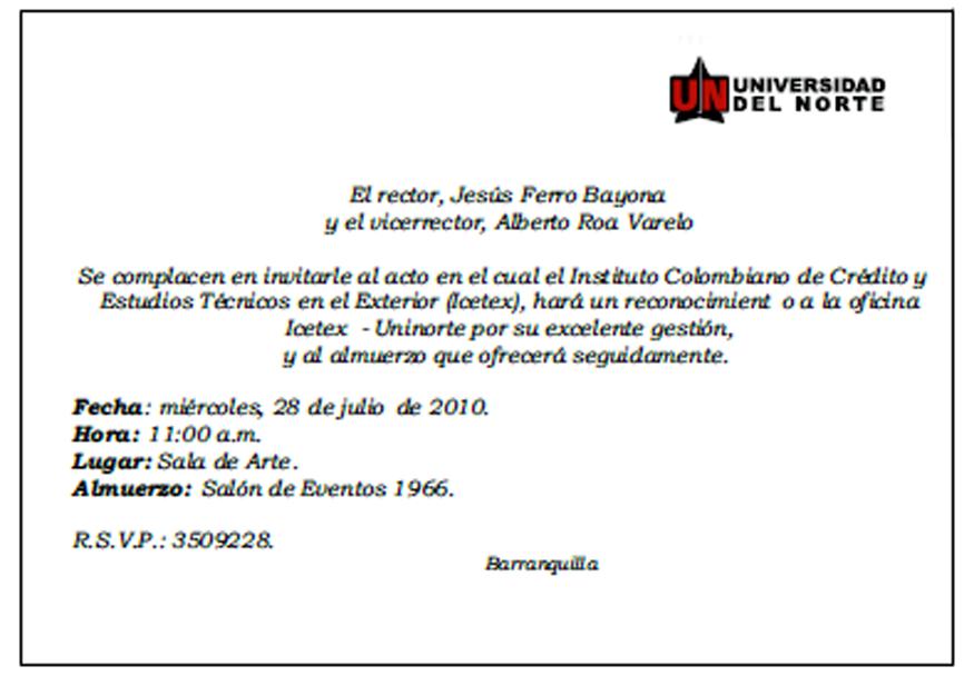 Ejemplo De Invitacion Para Un Evento
