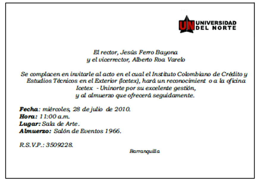 Carta De Invitacion Modelo
