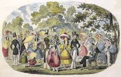 A scene in Kensington Gardens, or fashion and frights of 1829. The British Library.