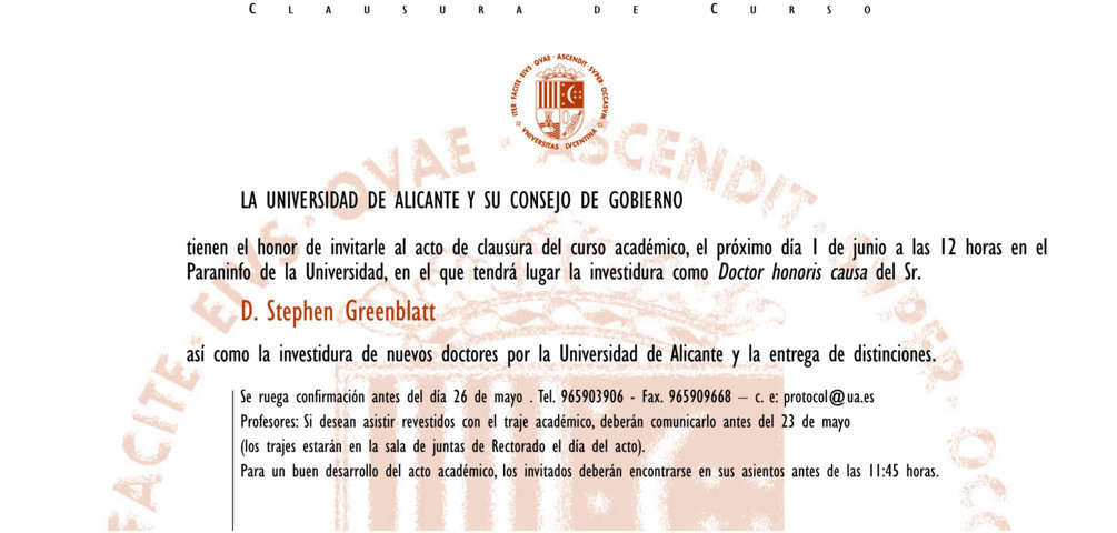 Invitación Universidad de Alicante